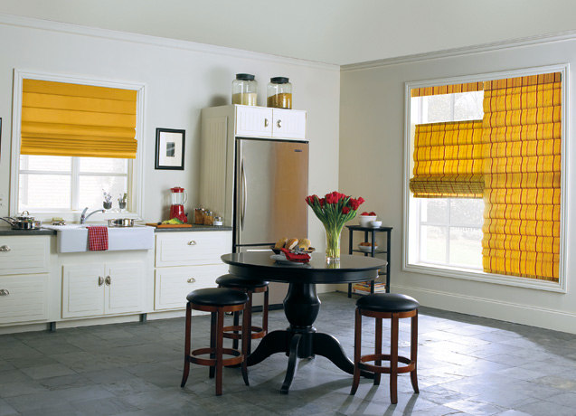 yellow roman shades