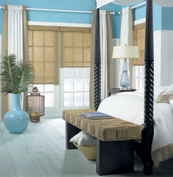roller shade in a beautiful bedroom