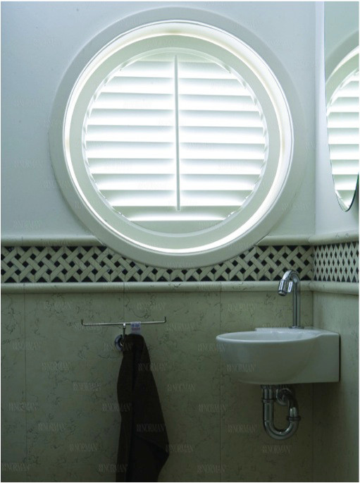 circle shaped bathroom window shutters