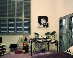 Custom Color: Gray Plantation Window Shutters
