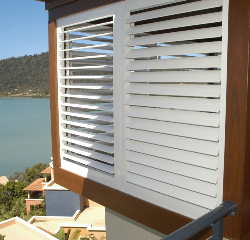 Aluminum exterior plantation shutters cleveland shutters - Exterior louvered window shutters ...