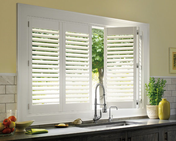 white kitchen window plantation shutters