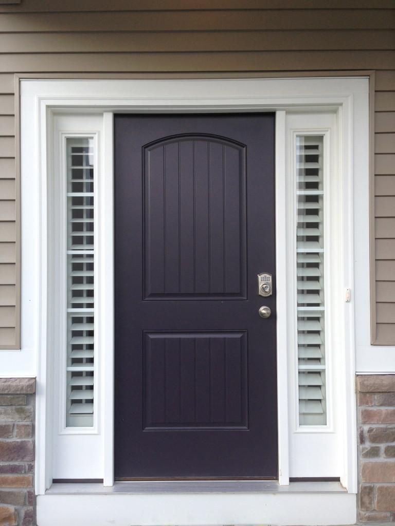 Entry door sidelight window shutters cleveland shutters for Front door with top window