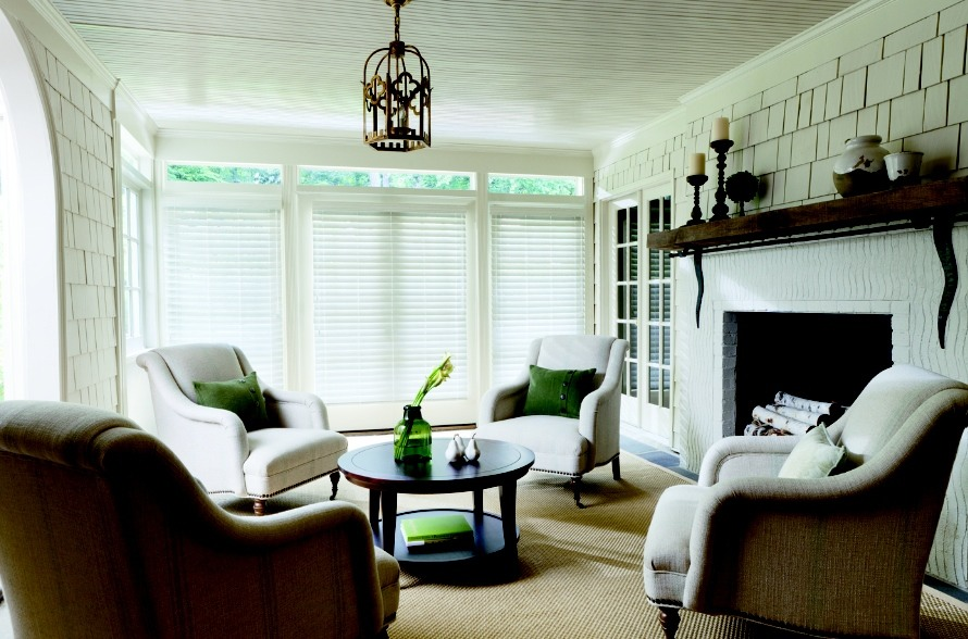 2.5 inches Aged White Blinds - Living Room