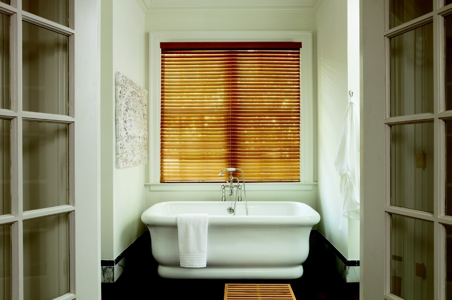 2 inch Golden-Oak Wood Blinds - Bathroom