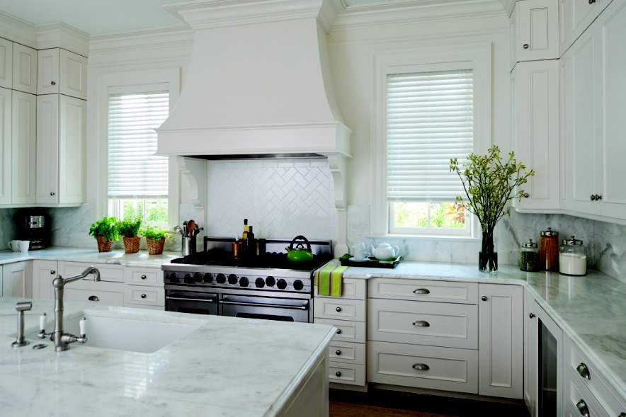 Classic 2 inch White Wood Blinds in White Kitchen