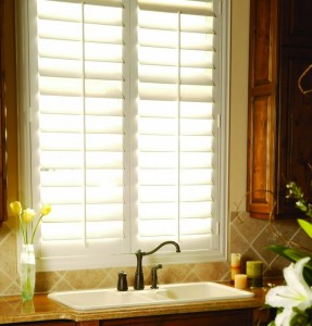 Polywood Plantation Shutters Over Kitchen sink