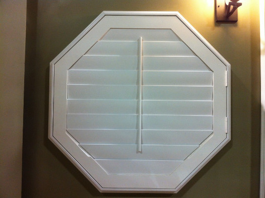 polywood octagonal shaped window shutters