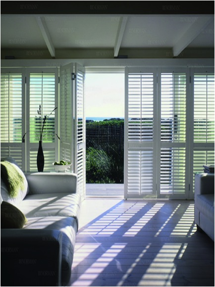 shutters on sliding door to patio