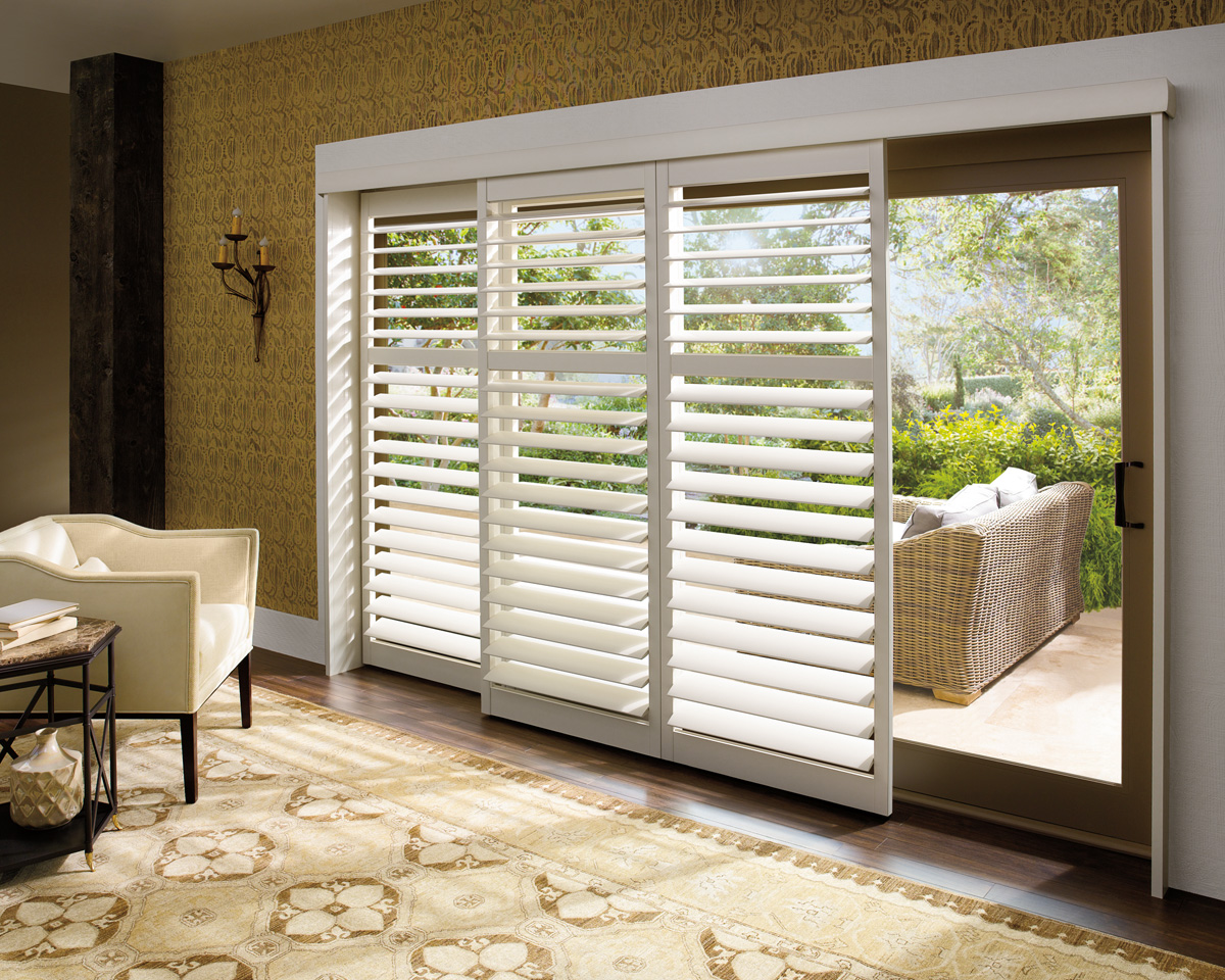 Sliding glass door window shutters cleveland shutters for Glass sliding entrance doors