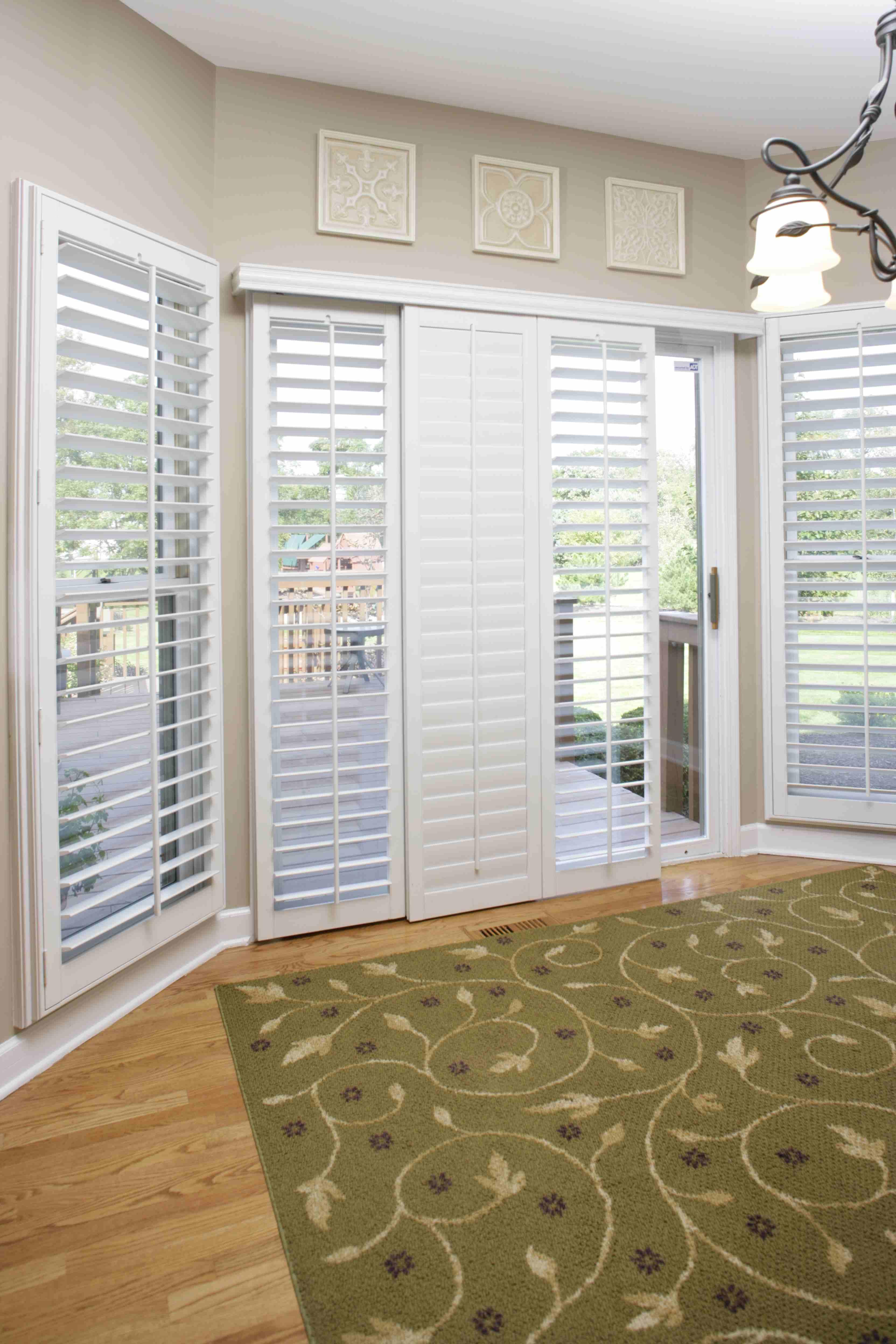 #8B6C40 Sliding Glass Door Window Shutters Sunburst Shutters Kitchen Pass  Through Window Shutters 5091 Picture
