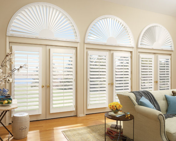 sunburst window shutter arch