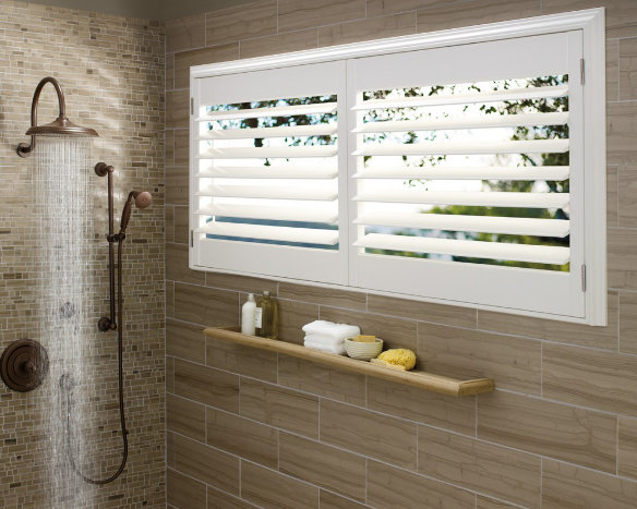 bathroom window plantation shutters