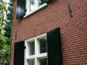 wood exterior window shutters black